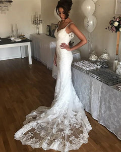 Simple Spaghetti Strap Sweetheart Mermaid Wedding Dresses Bride Gown