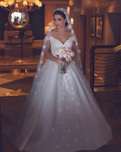 A Line Off Shoulder Sweetheart Wedding Dresses Bride Gown With Appliques - NICEOO