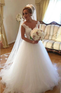 Simple Strap V Neck V Back Tulle Wedding Dresses Bride Gown