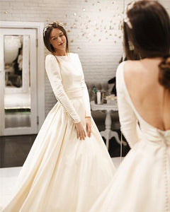 White Round Neck Long Sleeves Open Back Satin Wedding Dresses Bride Gown
