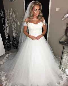 Ivory A Line Off Shoulder Sweetheart Wedding Dresses Bride Gown