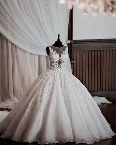 A Line Round Neck Sleeveless Wedding Dresses Bride Gown - NICEOO