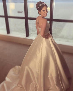 Ivory A Line Strapless Satin Train Wedding Dresses Bride Gown