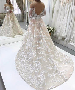 A Line Off Shoulder Long Sleeves Open Back Wedding Dresses Bride Gown - NICEOO