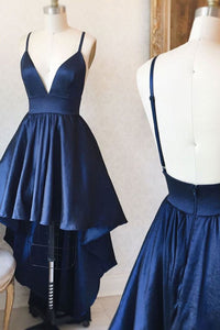 Navy Blue Spaghetti Strap V Neck High Low Homecoming Dresses Cheap Cocktail Dresses - NICEOO
