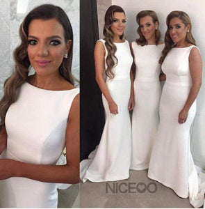 Simple White Sleeveless Slim-Line Satin Bridesmaid Dresses Evening Dresses
