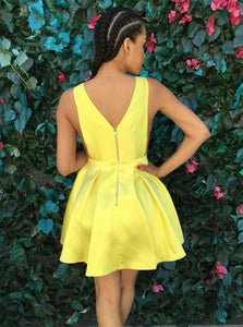 Yellow Strap V Neck V Back Mini Satin Homecoming Dresses Evening Dresses