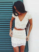 White Two Pieces V Neck Short Sleeves Mini Homecoming Dresses Evening Dresses