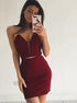 Burgundy Slim Line Strapless Satin Mini Homecoming Dresses Evening Dresses