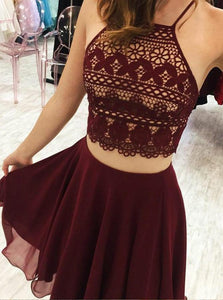 Burgundy Two Pieces Halter Chiffon Homecoming Dresses Evening Dresses - NICEOO