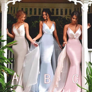 Sexy White Spaghetti Strap V Neck Slim Line Mermaid Satin Evening Dresses Prom Dresses