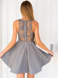 Gray Strap V Neck Sleeveless Homecoming Dresses Evening Dresses