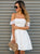 White Strapless Off Shoulder Mini Homecoming Dresses Evening Dresses