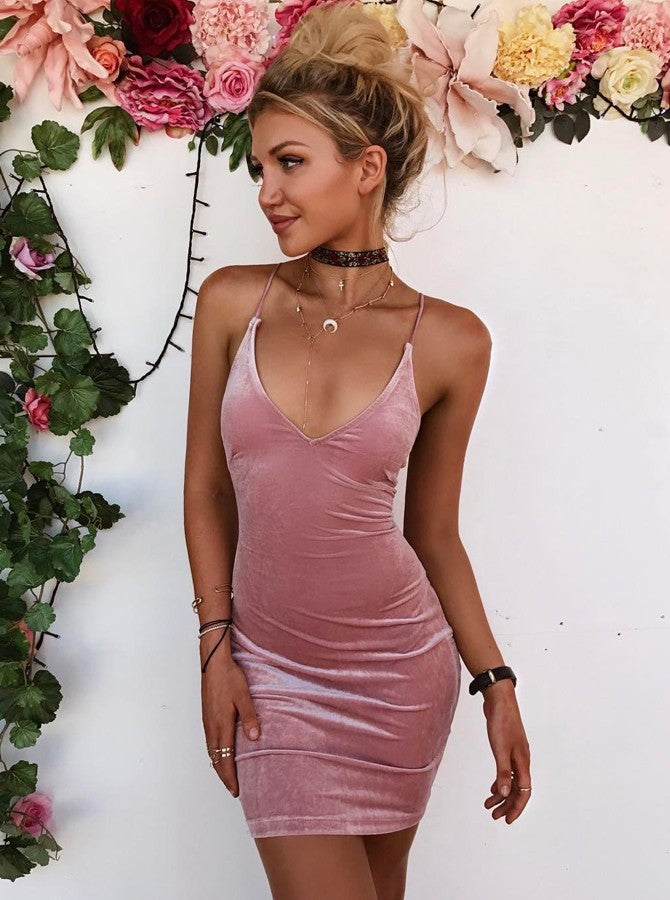 601cb8cd7fa Simple Spaghetti Strap V Neck Slim Line Mini Homecoming Dresses Evening  Dresses