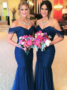 Navy Blue Off Shoulder V Neck Mermaid Tulle Bridesmaid Dresses - NICEOO
