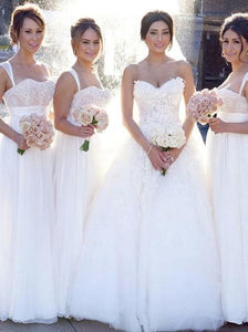 Spaghetti Strap Sweetheart Long Bridesmaid Dresses