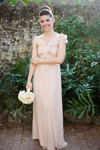 Elegant One Shoulder Sweetheart Long Chiffon Bridesmaid Dresses - NICEOO