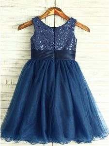Cute Navy Blue Round Neck Sleeveless Flower Girl Dresses - NICEOO