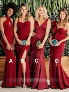 Sexy Burgundy Four Styles Sleeveless Slim Line Mermaid Affordable Satin Bridesmaid Dresses Evening Dresses - NICEOO