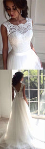Charming Tulle White wedding dress Lace applique wedding dress