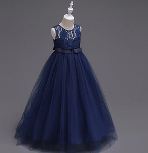 Cute Navy Blue Tulle A Line Sash Long Flower Girls Dresses