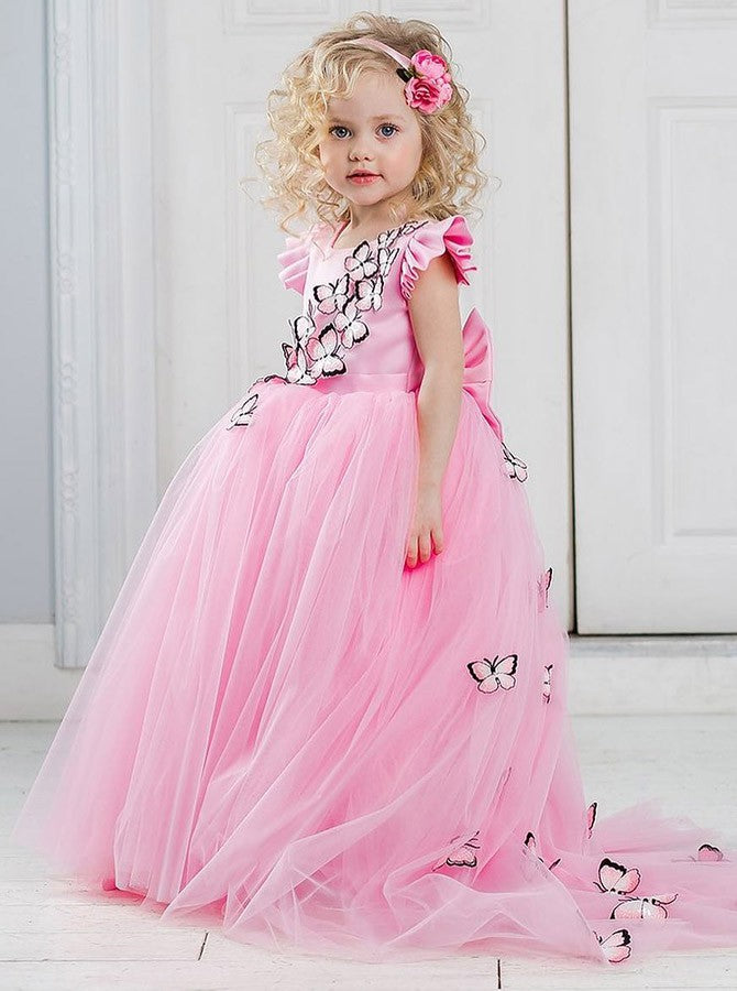Cute Pink Round Neck Tulle Flower Girl Dresses With Butterfly - NICEOO 08d10a7bb