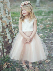 A Line Round Neck Sleveless Tulle Flower Girl Dresses