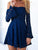 Royal Blue Off Shoulder Lace Homecoming Dresses,Long Sleeves Mini Cocktail Dresses - NICEOO