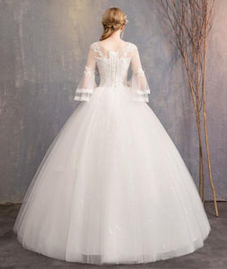 Elegant Round Neck Half Sleeves lace appliques wedding dresses
