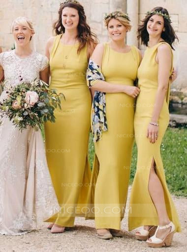 superior quality size 40 new lower prices Elegant Yellow Two Styles Sleeveless Side Split Slim Line Satin Bridesmaid  Dresses Evening Dresses