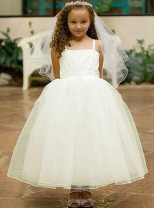 A Line Spaghetti Strap Tulle Long Flower Girl Dresses - NICEOO