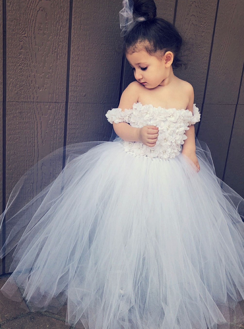 d31d0c6d4d94 Cute A Line Off Shoulder Tulle Flower Girl Dresses With Appliques - NICEOO