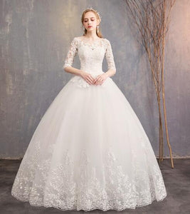 Charming lace appliques 3/4 Sleeves A-Line wedding dresses