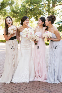 Unique A Line Strapless Bridesmaid Dresses Chiffon With Ruffles