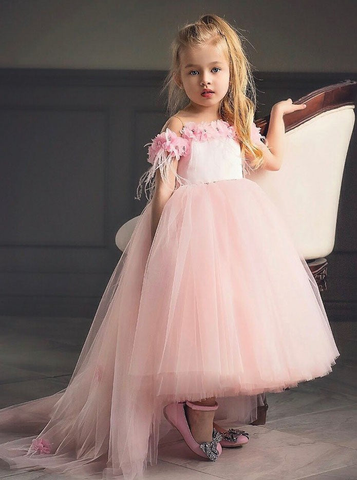 039f0fffdd8b Pretty Pink Off Shoulder Long Tulle Flower Girl Dresses With Flowers -  NICEOO