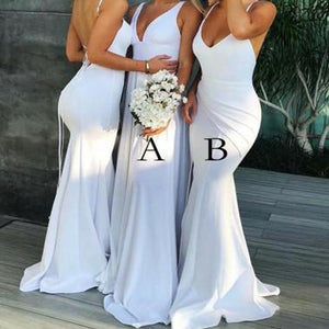 Sexy White Two Styles V Neck  Sleeveless Open Back Mermaid Satin Evening Dresses Prom Dresses - NICEOO
