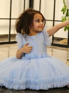 Blue Round Neck V Back Flower Girl Dresses With Bow - NICEOO