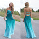 Sexy Tiffany Blue Sweetheart A Line Open Back Empire Waist Lace Up Chiffon Bridesmaid Dresses Evening Dresses - NICEOO