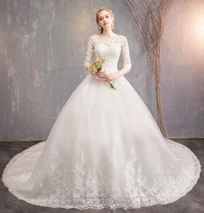 Luxurious lace appliques Half Sleeves A-Line wedding dresses