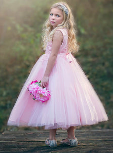 A Line Round Neck Sleeveless Tulle Flower Girl Dresses - NICEOO
