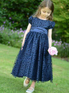 Navy Blue A Line Round Neck Short Sleeve Flower Girl Dresses - NICEOO