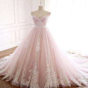 Gorgeous Pink Pleated Long A-Line Lace Appliques Wedding Dresses