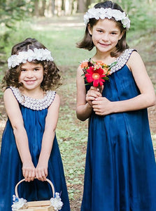 Simple Navy Blue Round Neck Sleeveless Satin Flower Girl Dresses