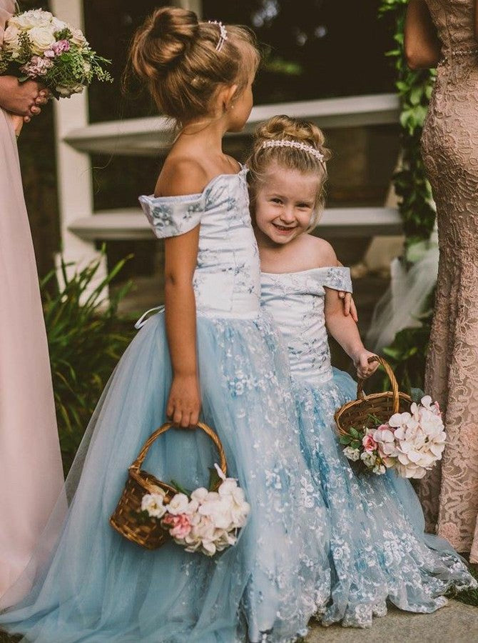 f1144ab6cec5 Pretty A Line Off Shoulder Tulle Flower Girl Dresses With Appliques - NICEOO