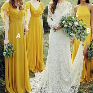 Elegant Yellow Two Styles Empire Waist Side Split Chiffon Bridesmaid Dresses Evening Dresses - NICEOO