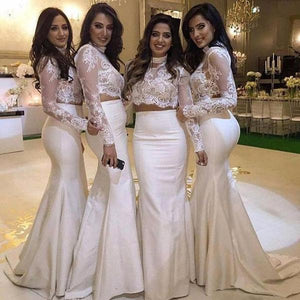 Sexy White Two Pieces Round Neck Mermaid Satin Bridesmaid Dresses Best Prom Dresses