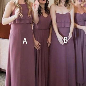 Elegant Dusty Purple Two Styles Sleeveless Empire Waist Chiffon Bridesmaid Dresses Evening Dresses - NICEOO