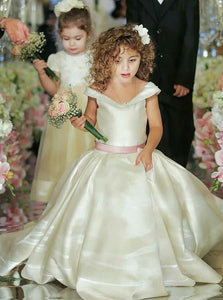 A Line V Neck Sleeveless Satin Flower Girl Dresses