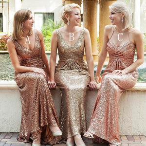 Sexy Gold Three Styles V Neck Sleeveless Slim Line Open Back Empire Waist Sequin Bridesmaid Dresses Prom Dresses - NICEOO