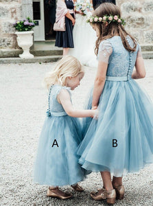 A Line Two Pieces Round Neck Tulle Flower Girl Dresses - NICEOO